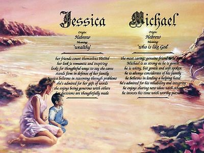"""""""Mother Son"""" Double Name Meaning Print Personalized"""