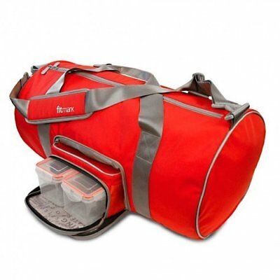 FitMark Transporter Red Duffle - Mens & Womens Gym Travel Meal Prep Laptop Bag