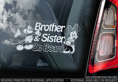 Brother & Sister on Board - Car Window Sticker - Mickey Minnie Mouse Decal - V02