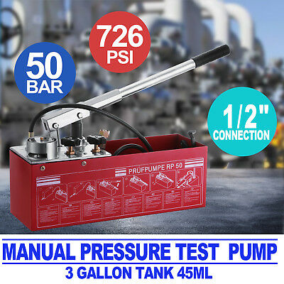 Manual Pressure Test Pump 726Psi 12 Litre Water Line Heating System Leakage