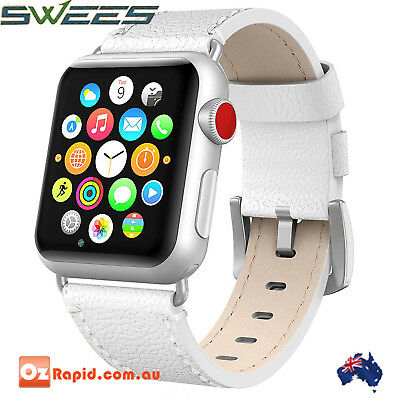 Apple Watch Band 38mm Genuine Leather iWatch Swees Series 2 3 1 Strap New White
