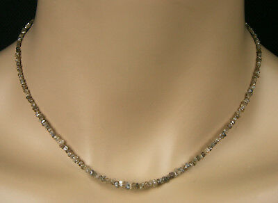 Rohdiamant Kette Collier, in champagner, 17.50ct, incl. 925 Silber Karabiner