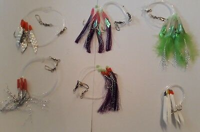 Feathers/hokkais/tinsels/reflector rigs for mackerel/cod/bass/pollock fishing