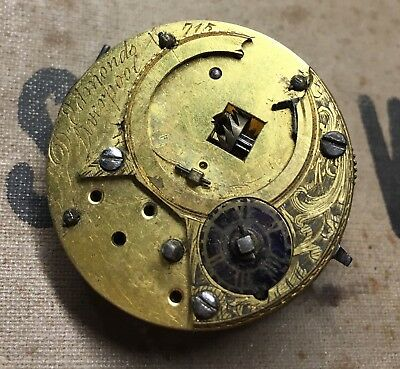 XVIII century Verge pocket watch movement and dial for Spares repair