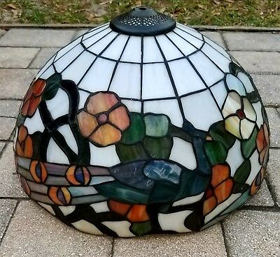 Vintage Tiffany style stained leaded slag glass lamp shade peacocks floral