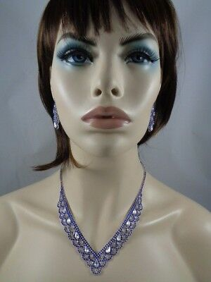 Jewelry-Set-Necklacet+Earring-Bridal_Fashion_Party Silve/Royal