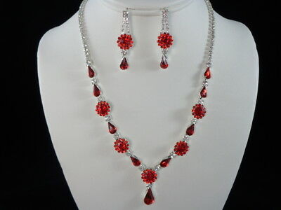 Jewelry-Set-Necklacet+Earring-Bridal_Fashion_Party Silve/Red