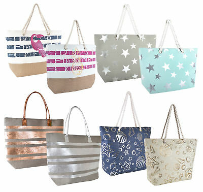 Womens Metallic Shoulder Bag Large Summer Beach Tote Bag Travel Shopper Holiday