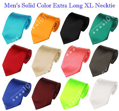 NEW! Manzini® Neckwear Men's Solid Color Extra Long XL Neck Tie! Various Colors!