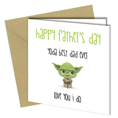 500 YODA BEST DAD EVER Mothers Day Card Adult Funny Rude 6x6 - £2.99