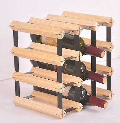 12 Bottle Timber Wine Rack - Complete Wooden Wine Storage System