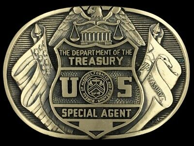 Vtg NOS Department Of Treasury Alcohol Tobacco Firearm ATF Brass Belt Buckle