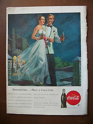 1947 VTG Coke Coca Cola Soda Original Magazine Ad Intermission From Party Dance
