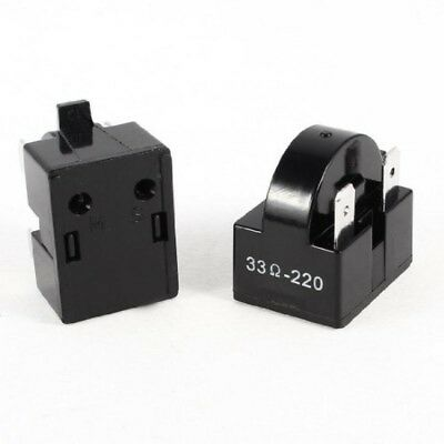 33 Ohm Plastic Shell 3 Pins Refrigerator PTC Starter Relay 2 Pcs. Uxcell