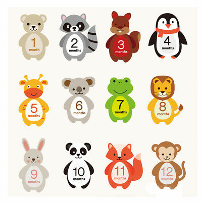 Baby Infant Monthly Mom Weekly Stickers New Born Party Shower 1 to 12 Months EL