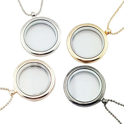 Living Memory Glass Round Locket Charms Pendant Necklace UK