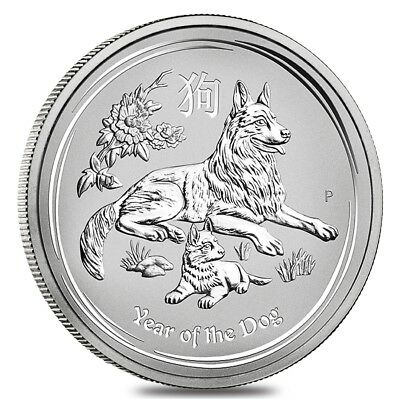 2018 5 oz Silver Lunar Year of The Dog BU Australian Perth Mint In Cap