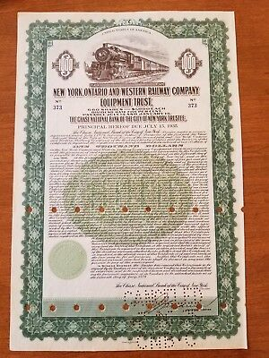 1929 New York Ontario & Western Railway Company Bond Stock Certificate Railroad