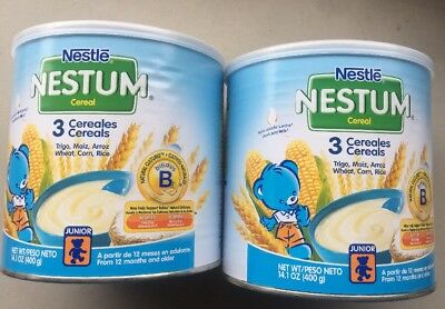 Nestle Nestum Cereal - Contains Wheat, Corn And Rice. Lot Of 2 Cans 14.1 Oz Each