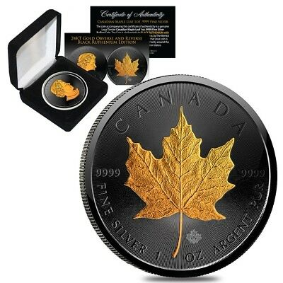 2018 1 oz Silver Canadian Maple Leaf $5 Coin Black Ruthenium 24K Gold Edition