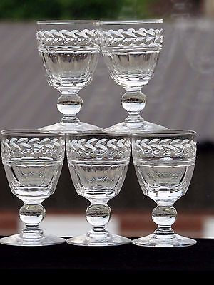 "5 STUART CRYSTAL""ARUNDEL"" CUT LIQUEUR GLASSES - SIGNED- 2 7/8""(7.3 cms) TALL"