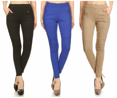Women's Classic Solid Cotton Blend Jeggings Moto Skinny Stretch Pants