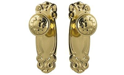 "Door Knobs-""Stepney""-Polished Brass-Fancy-Nouveau Federation-Vintage Handle Set"