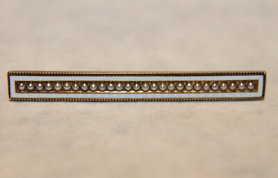Antique Art Nouveau Deco Solid 14K Yellow Gold White Enameled Seed Pearl Bar Pin