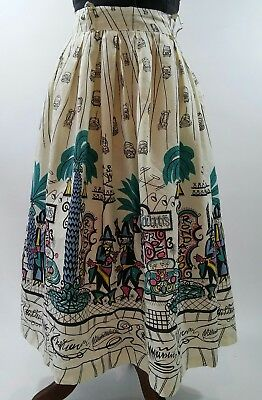 "Vintage 1950s Saul Steinberg Womens 26"" Waist Tin Horn Holiday Cotton Skirt VLV"