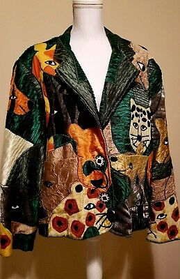 Anage VTG Womens Animal Jacket Lined Artsy XL Beautiful