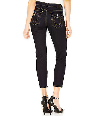 $167 True Religion Dark Blue Mid Rise Halle w/Flaps Cropped Jeans Body Rinse NEW
