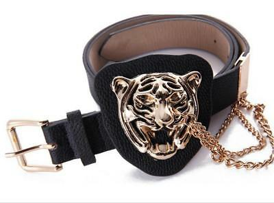 Hot Design Men's New Fashion Leather Belt With Metal Tiger Buckle