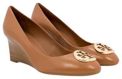 b00ecaf8de4a TORY BURCH KARA Wedge Pump shoe Tan Leather Gold Logo 10 -  178.00 ...