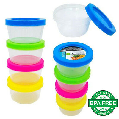 Plastic 200ml Small Round Storage Food Container Clear Craft Box Color Lids