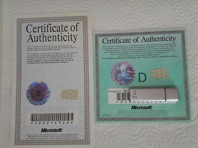 Certificate Of Authenticity MICROSOFT MS DOS 62 Windows 95