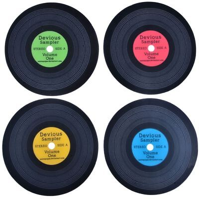 ROUND VINYL THEME DEVIOUS SAMPLER 4 Colors Plastic 100% PET Coaster Set 4pcs