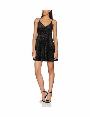5968d0e7b5 New Look Women s Glitter Velvet Skater Party Dress Black (Black Pattern) 18