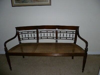 Bergere Regency style 3 seater caned settee-modern hardwood-excellent condition