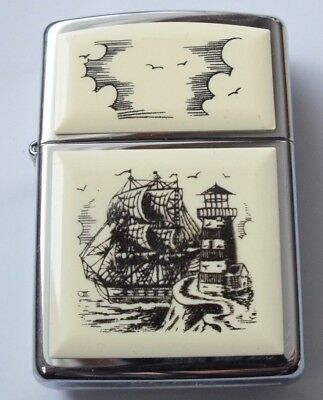 Beautiful Vintage 1997 Ship and Lighthouse Scrimshaw Lighter Zippo Lighter, Mint