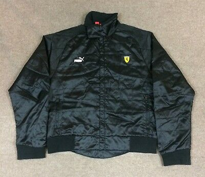 Puma Ferrari Racing Jacket Full Zip Black Embroidered Men's Size XL Slim Fit