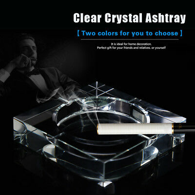 Clear Glass Crystal Square Cigarette Ashtray for Bar Pub Restaurant Home Office