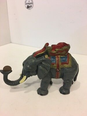 Vintage Cast Iron Elephant Pull Tail Mechanical Bank.