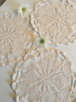 Lot Of 3 Matching Vintage Handcrafted Crocheted Doilies