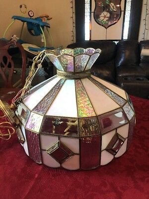 Huge Vintage Stained Glass Luminesse Hanging Lamp Chandelier