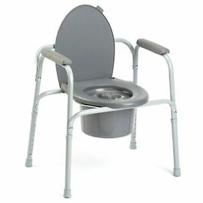 Invacare Portable Bedside 3-in-One Commode Toilet Safety Frame Support Seat New
