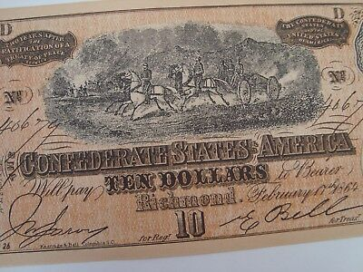 TWO BILLS 1864 Confederate States America $10 TENDollar Civil War Note facsimile