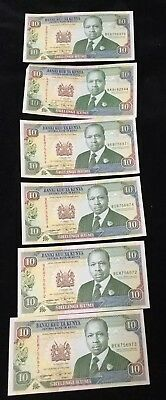 Kenya P-24e 10 Shilling Year 1993 Uncirculated Banknote Africa Lot of 6