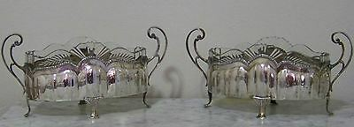 Pair Antique Silver Plate & Cut Glass Footed Jardinieres Ca. 1900