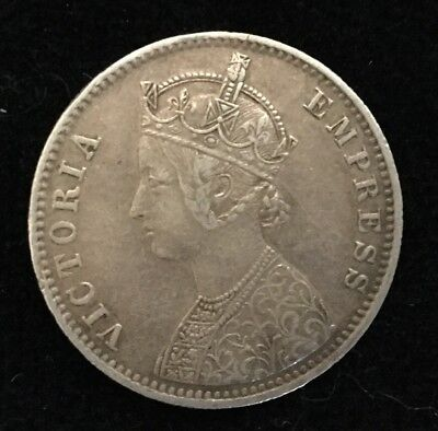 India Alwar State 1 Rupee 1891 Silver Victoria in VF condition