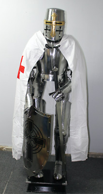 Medieval Wearable Knight Crusader Full Suit Of Armor With White Costume & MEDIEVAL WEARABLE KNIGHT Crusader Full Suit Of Armor With White ...